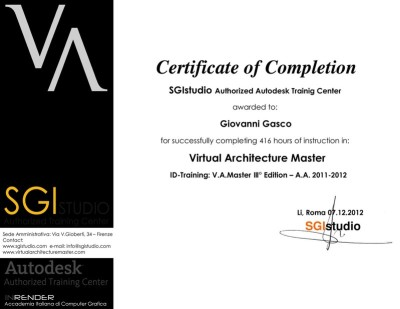 VA Master certificate of completion