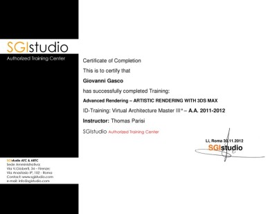 artistic render training certificate